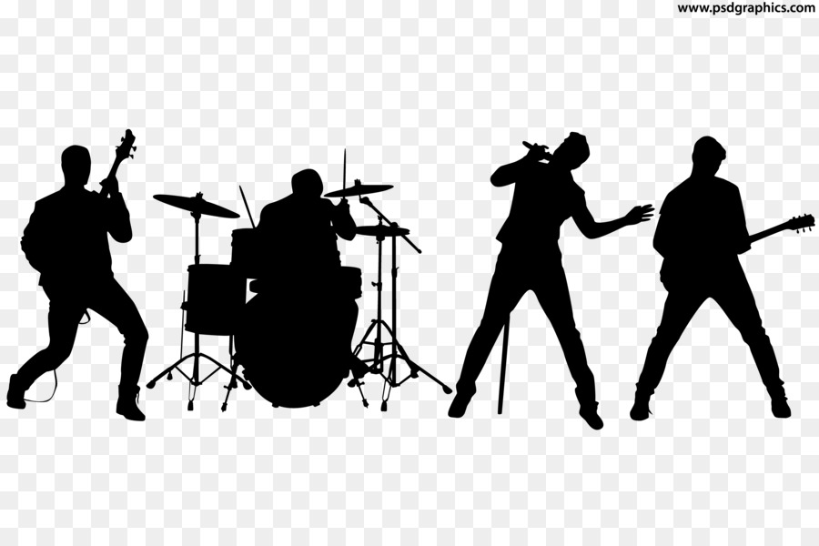 Rock background black communication. Band clipart silhouette