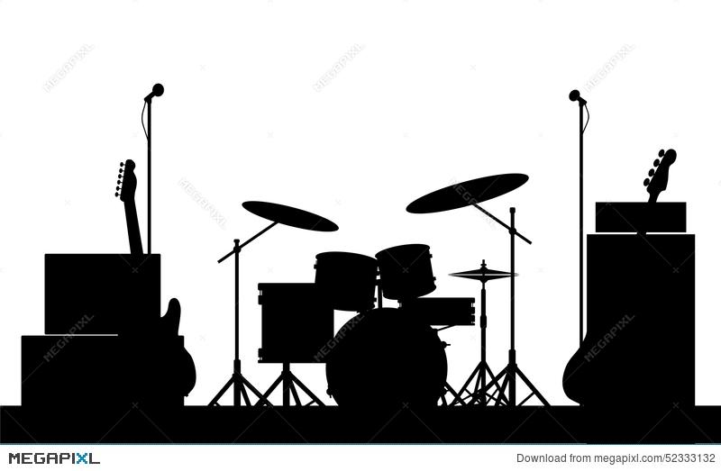 Band clipart silhouette. Rock equipment illustration megapixl