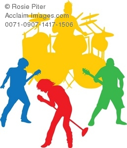 Band clipart silhouette. Clip art illustration of