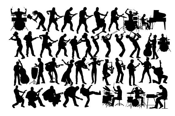 Music rock musician jazz. Band clipart silhouette