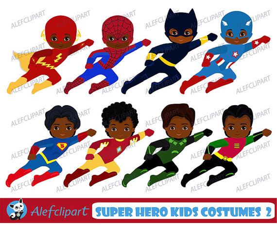 Hero clipart african american superhero. Kids off sale clipartsuperhero