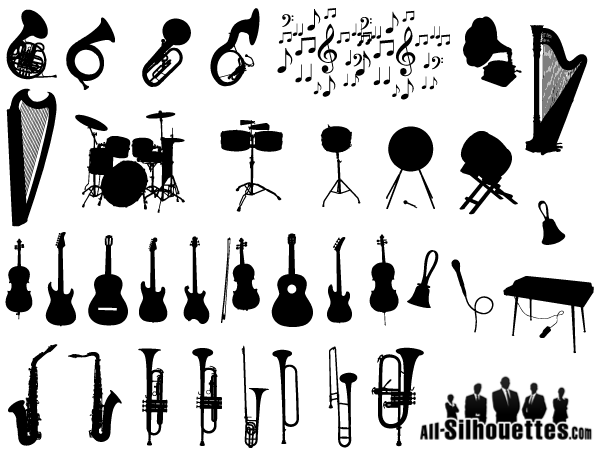 Band clipart vector. Free musical instruments silhouettes