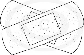 Bandaid clipart black and white. Letters