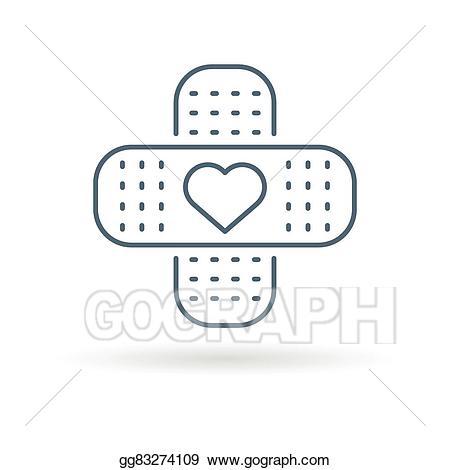 Bandaid clipart drawing. Vector art heart icon