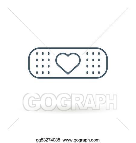 Vector art heart icon. Bandaid clipart drawing