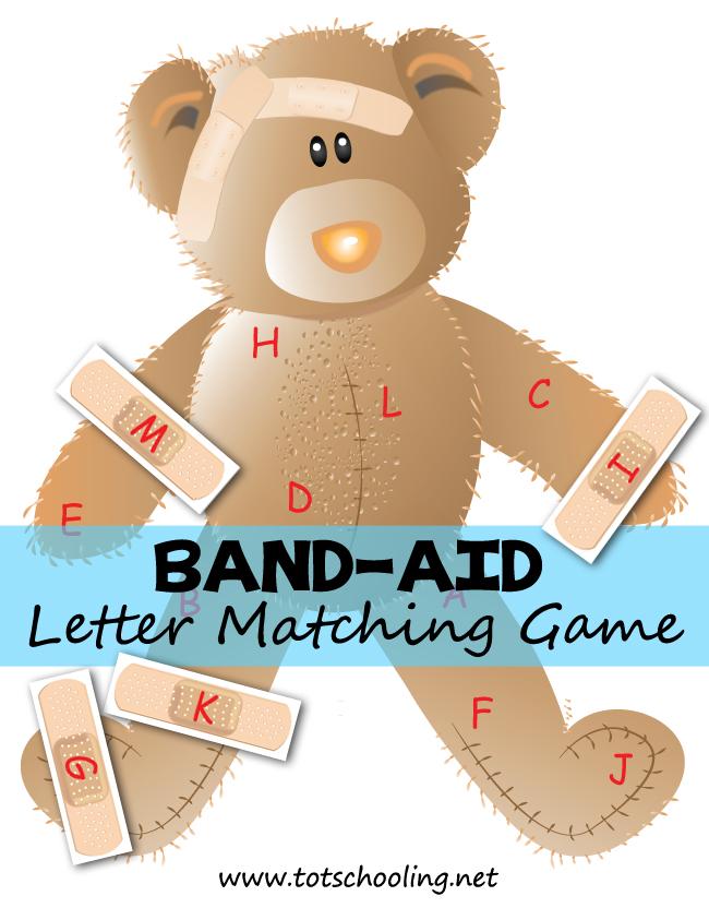 Band aid bear alphabet. Bandaid clipart printable