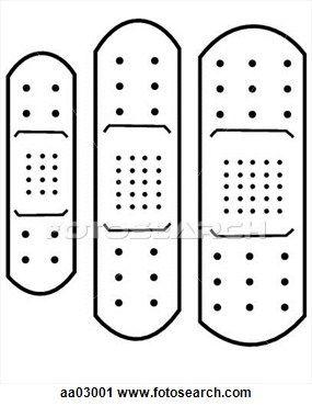 Adhesive bandage band aid. Bandaid clipart template
