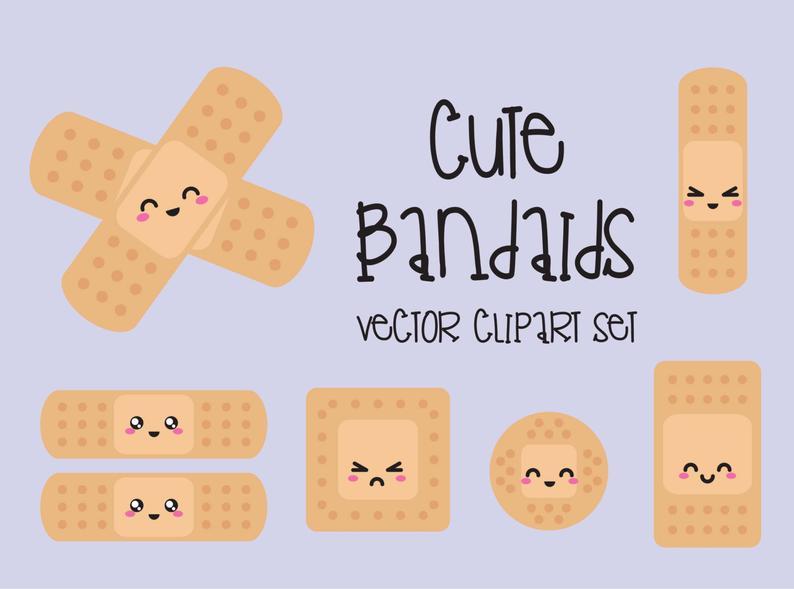 Premium kawaii bandaids cute. Bandaid clipart vector