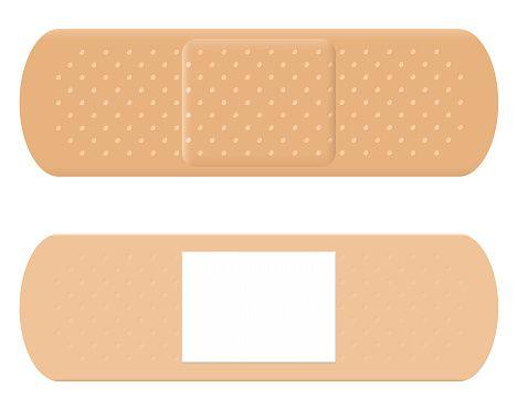 Adhesive bandage reverse surface. Bandaid clipart vector
