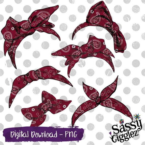 Maroon bows headbands package. Bandana clipart