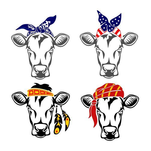 Cow kerchief cuttable design. Bandana clipart