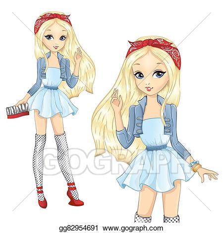 Bandana clipart animated. Vector art fashion blonde
