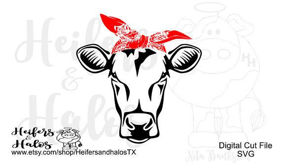 Simple cut cow with. Bandana clipart bandana headband