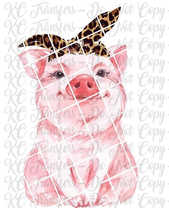 Pig cheetah leopard ready. Bandana clipart bandana headband
