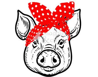 Bandana clipart bandana headband. Pig etsy svg rosie