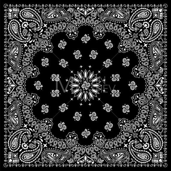Black vector illustration bandanna. Bandana clipart bandana print