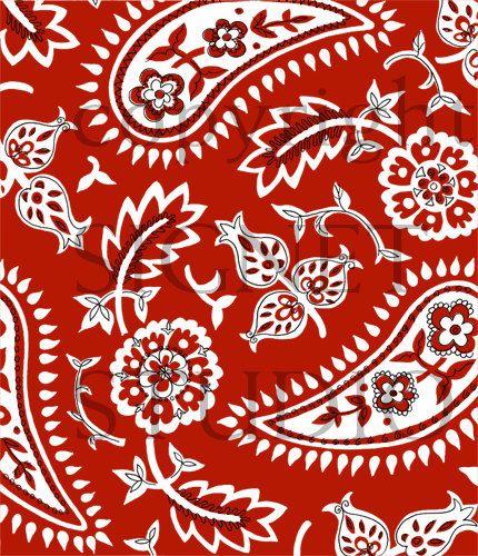 Modern paisley large red. Bandana clipart bandana print