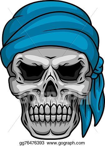 Vector art pirate skull. Bandana clipart blue bandana