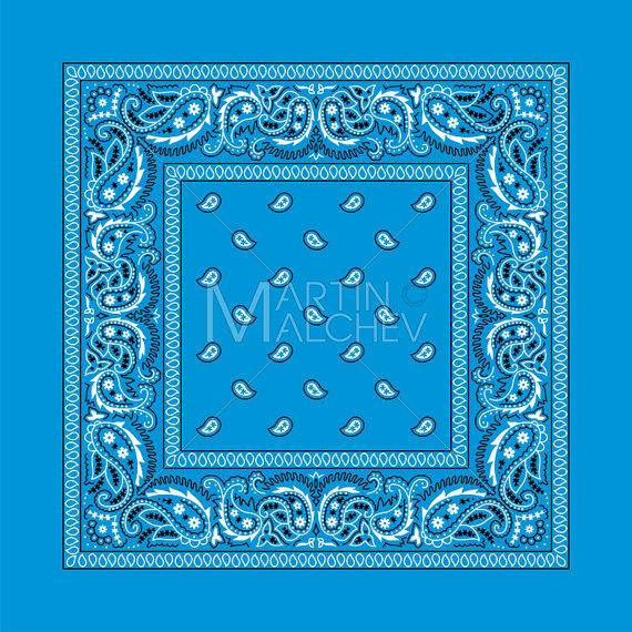 Colorful vector illustration bandanna. Bandana clipart blue bandana
