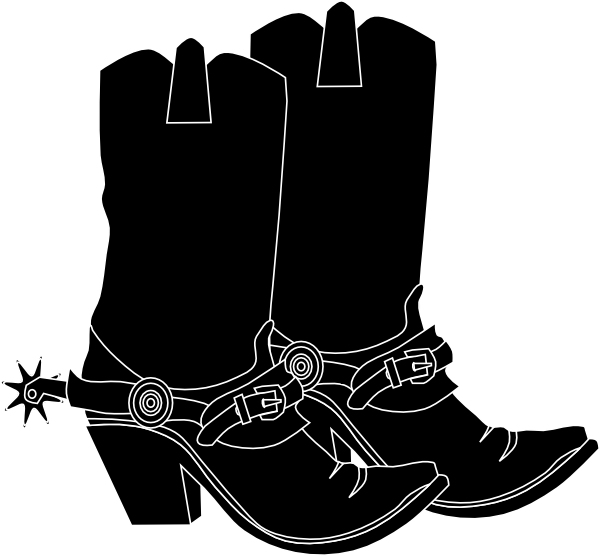 Western boots kid cliparting. Cowgirl clipart black and white