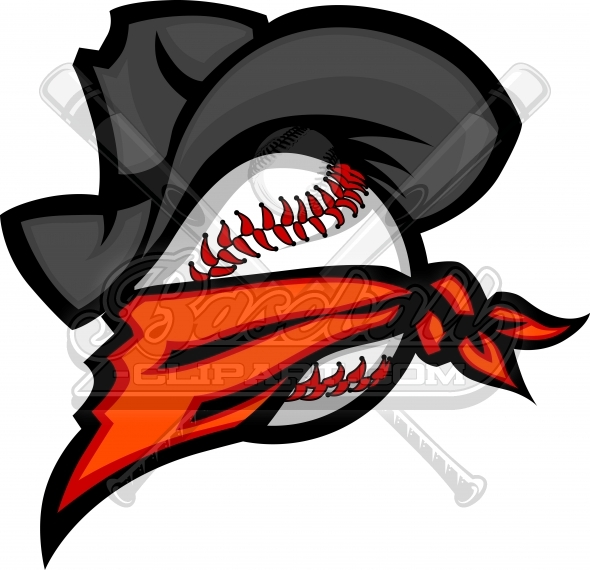 Bandit cowboy with hat. Baseball clipart logo