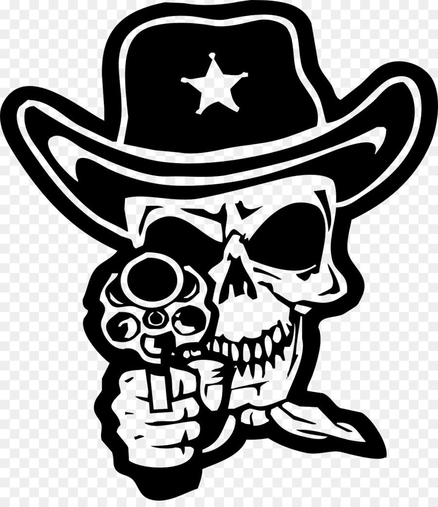 Human skull symbolism clip. Bandana clipart cowboy hat