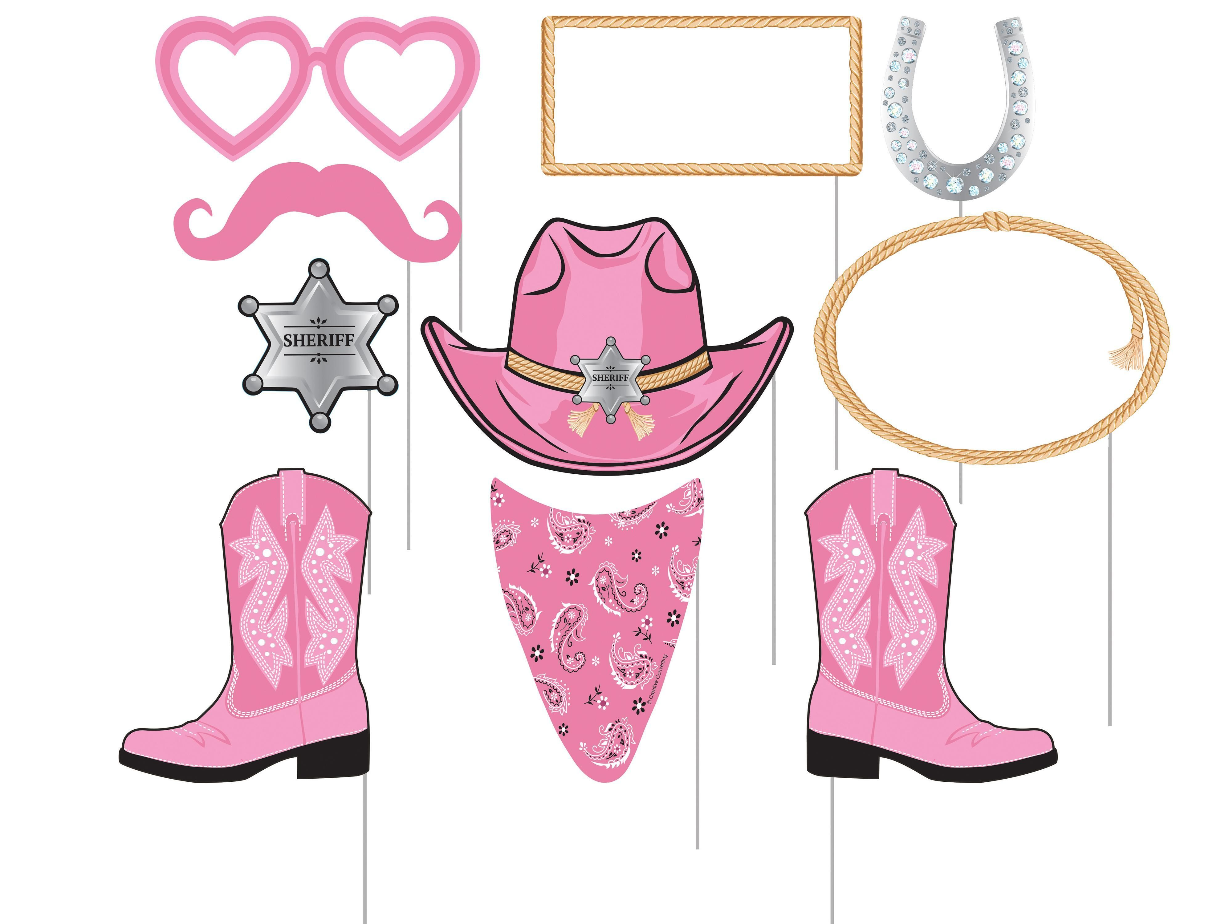Pink photo booth props. Bandana clipart cowgirl bandana