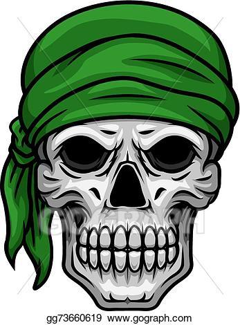 Vector cartoon skull in. Bandana clipart green bandana