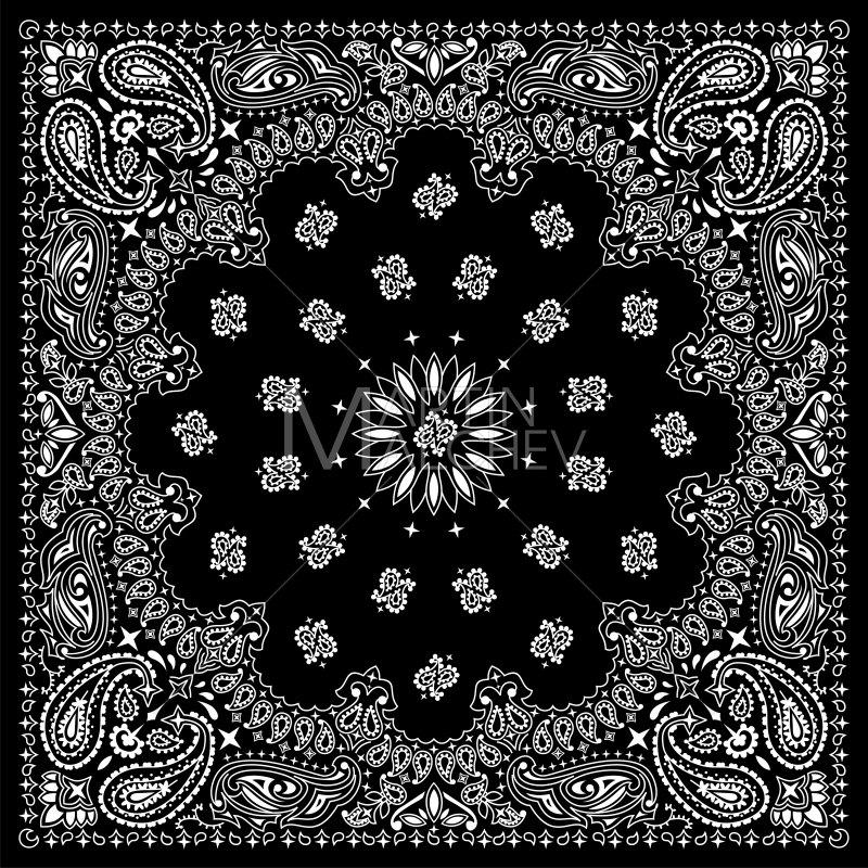 Bandana clipart hankerchief. Black vector illustration bandanna