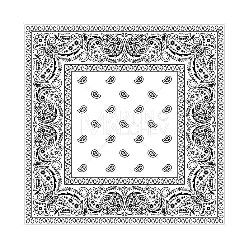 White vector illustration bandanna. Bandana clipart hankerchief
