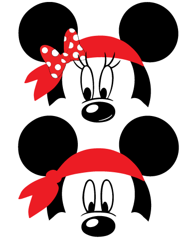 Instant download and minnie. Bandana clipart mickey pirate