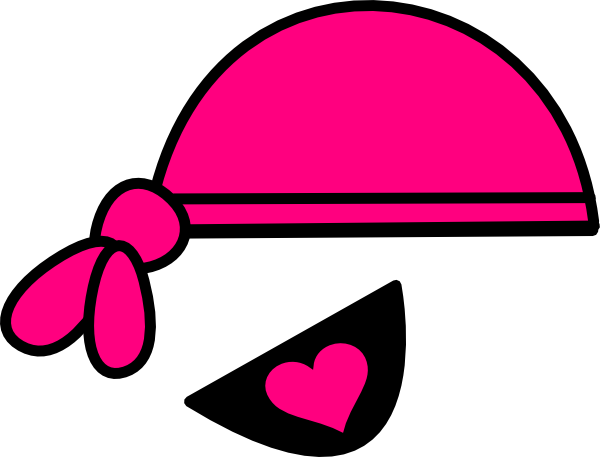 Pink eyepatch clip art. Bandana clipart pirate hat