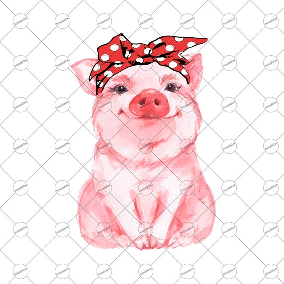 Bandana clipart printable. Red pig png sublimation