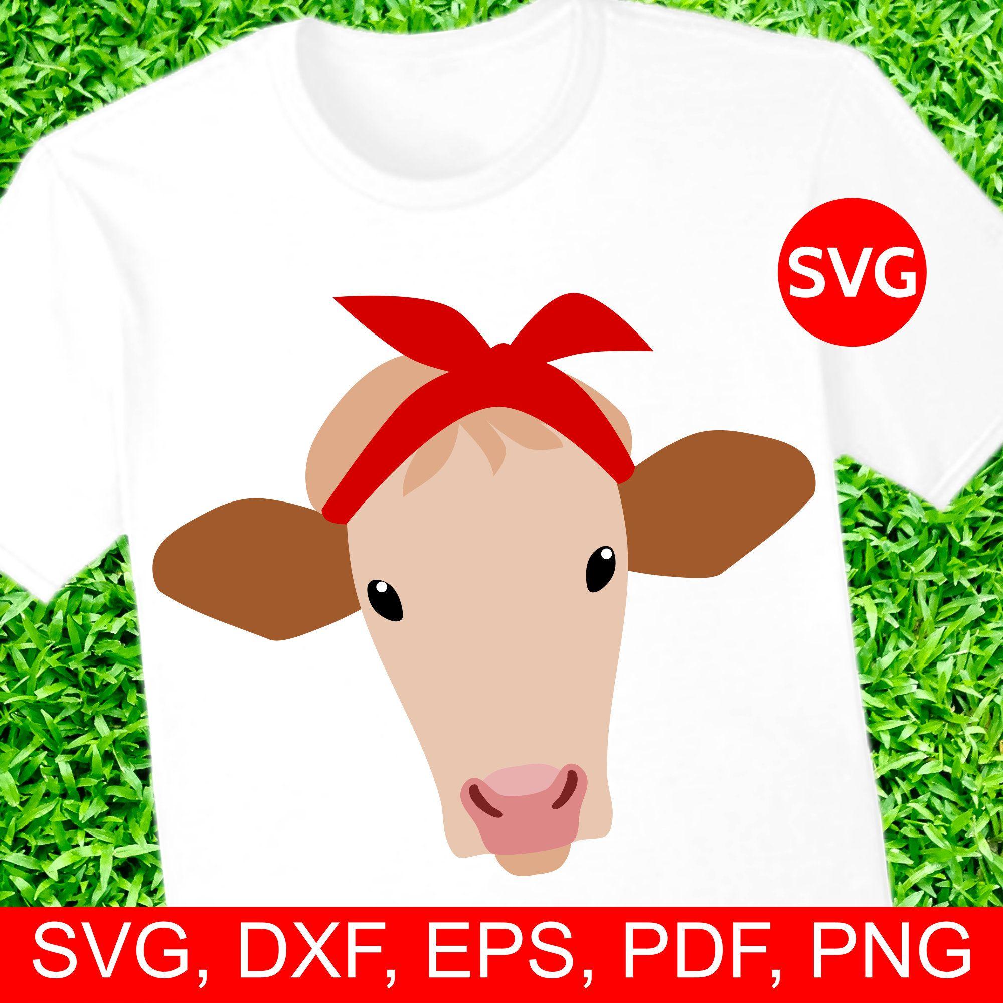 Bandana clipart printable. Heifer cow with svg