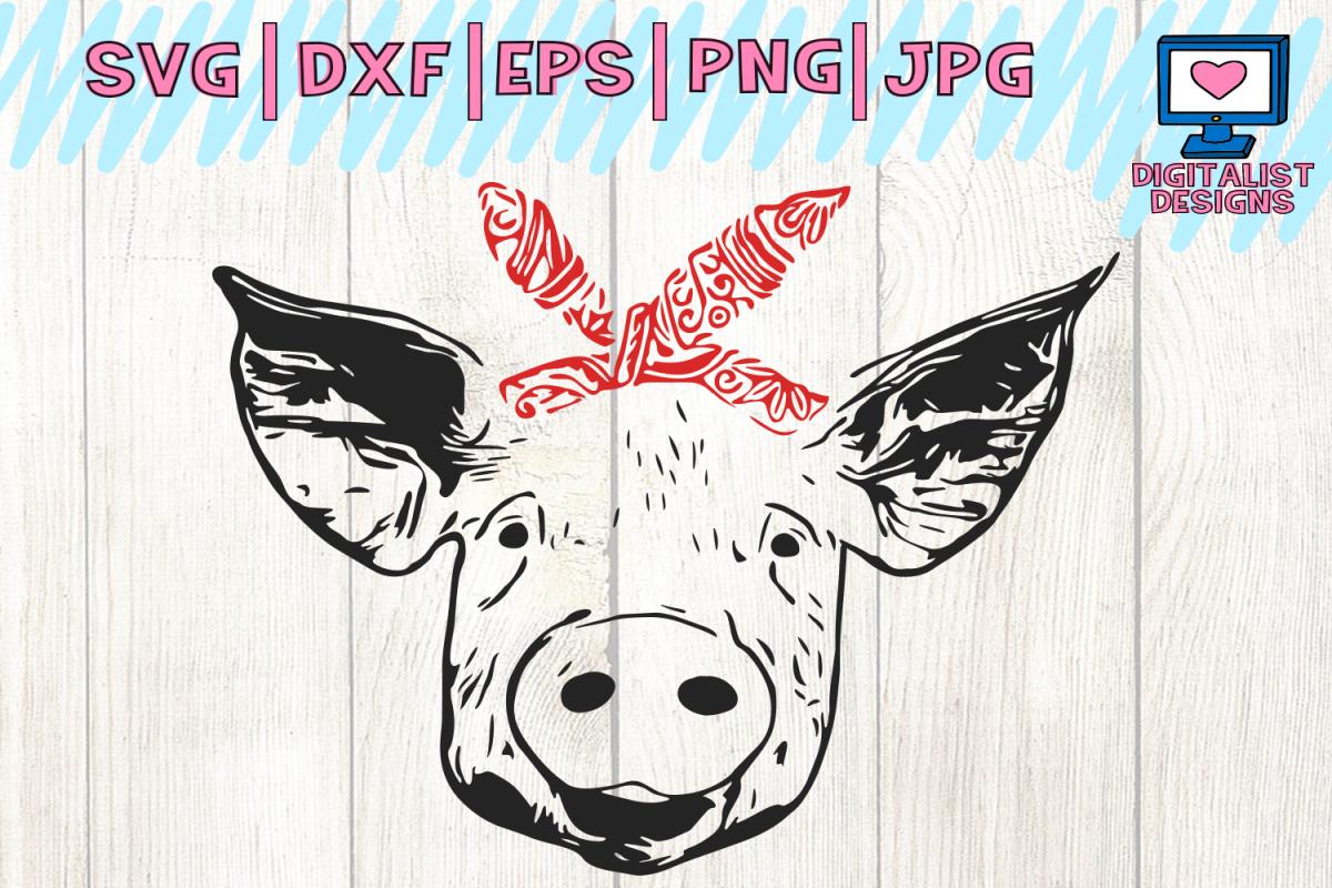 Pig svg face files. Bandana clipart vector