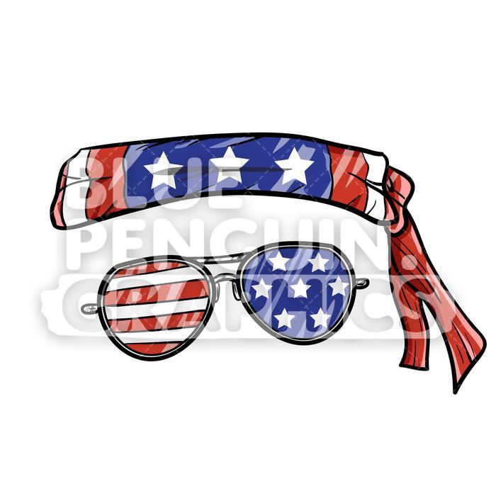Bandana clipart vector. Cool usa and sunglasses