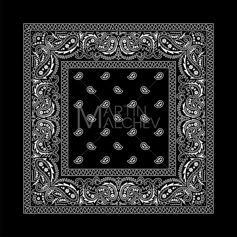 Black illustration bandanna western. Bandana clipart vector