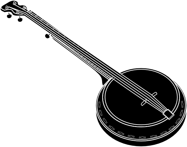Banjo clipart black and white. Clip art at clker