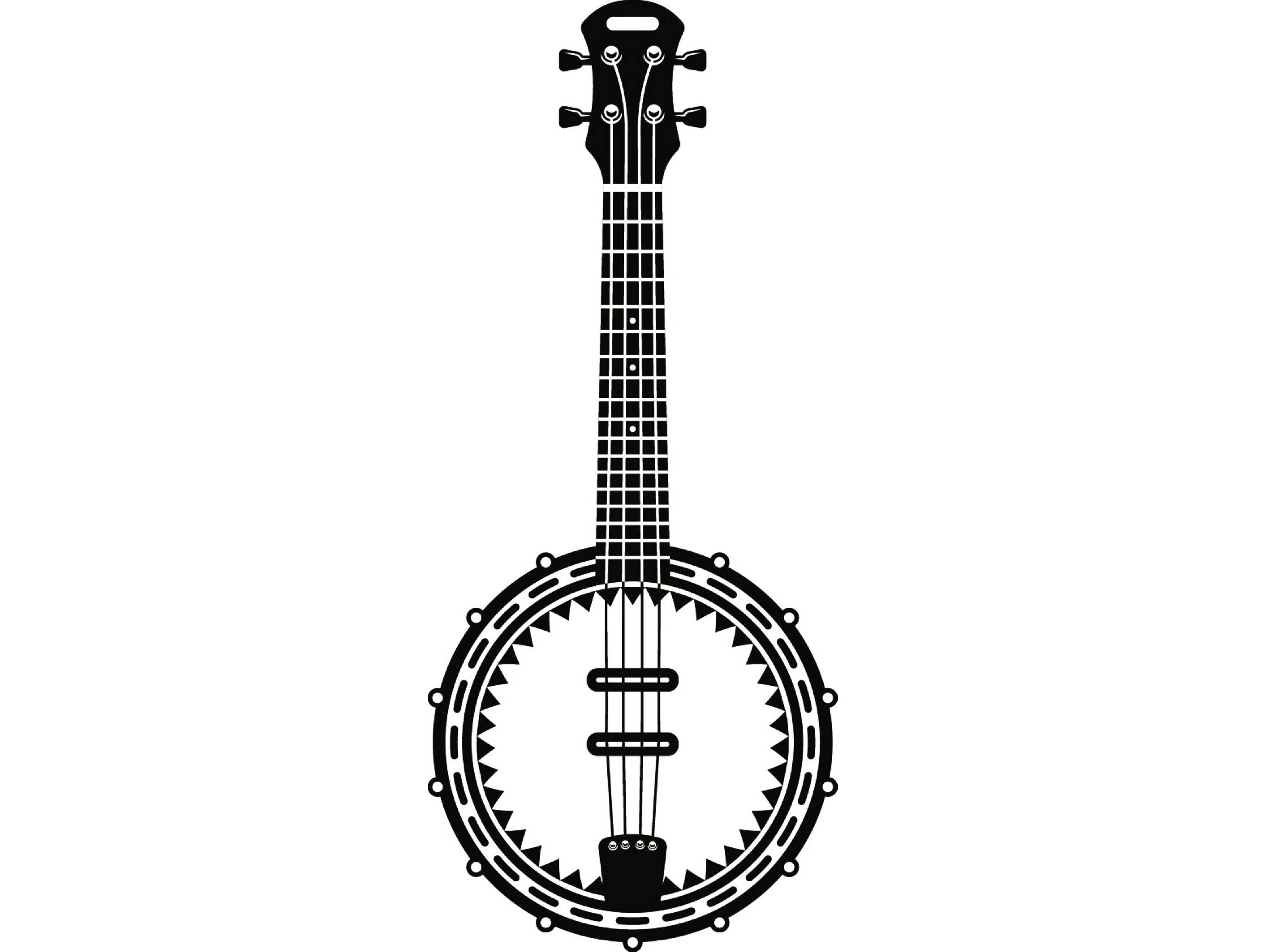 Musical instrument strings rock. Banjo clipart black and white