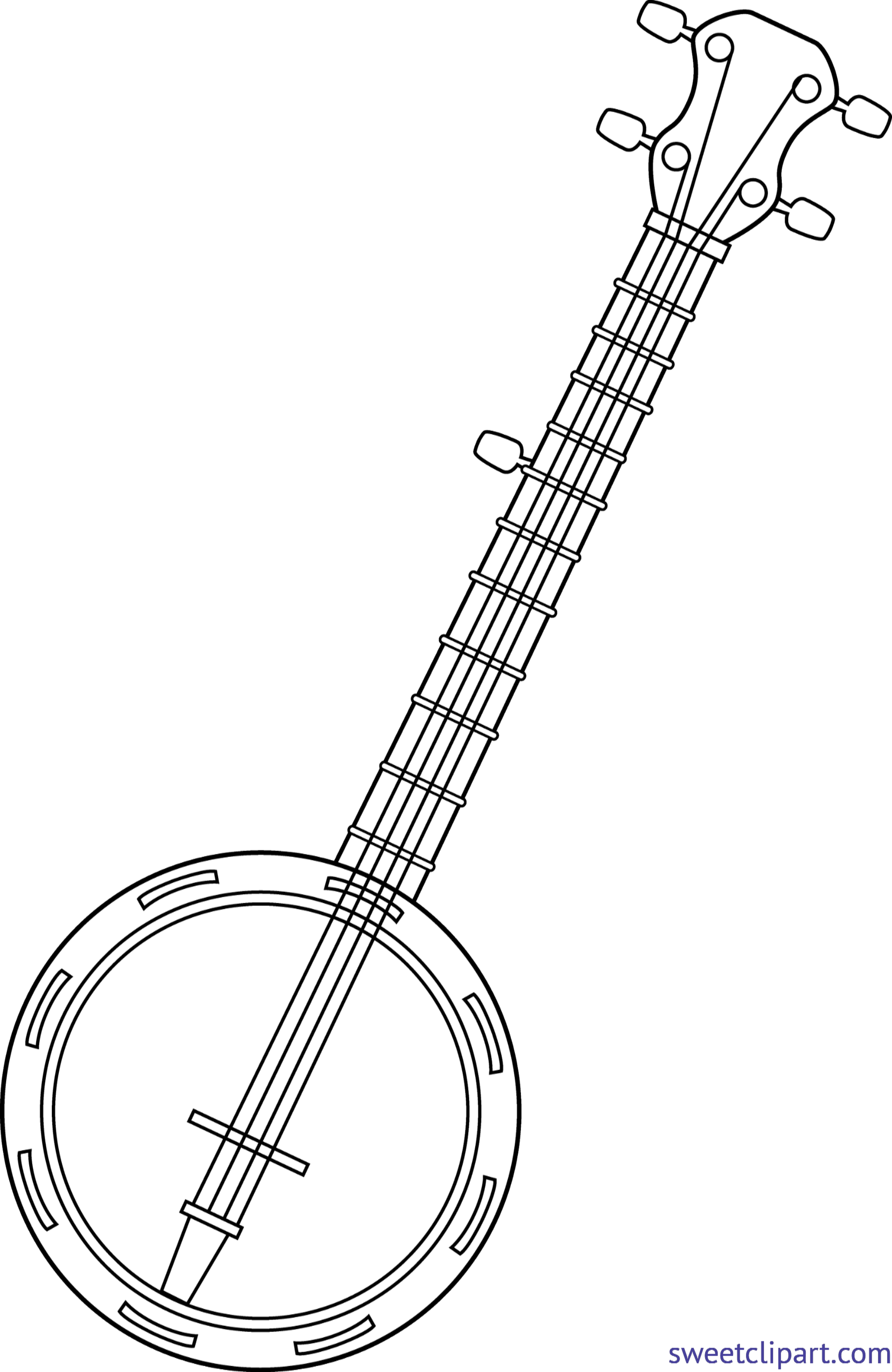 Lineart clip art sweet. Banjo clipart black and white