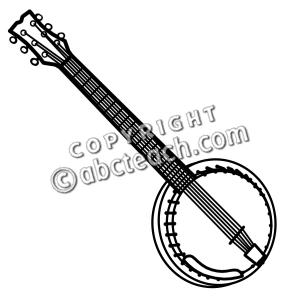 Clip art b w. Banjo clipart black and white