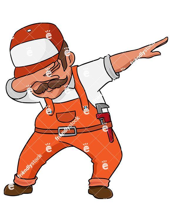 Banjo clipart cartoon. Dabbing plumber vector