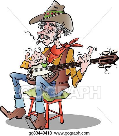 Banjo clipart cartoon. Eps vector country player