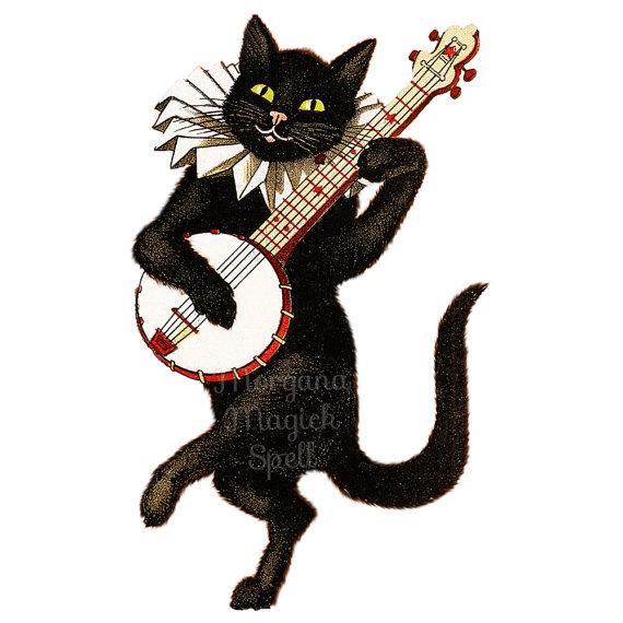 Banjo clipart cartoon. Vintage cat with royalty