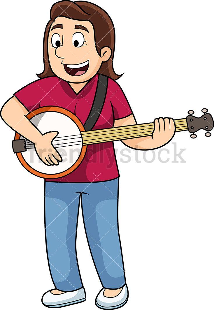 Woman playing the vector. Banjo clipart cartoon