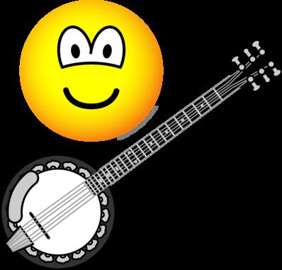 Banjo clipart cartoon. Of a black and