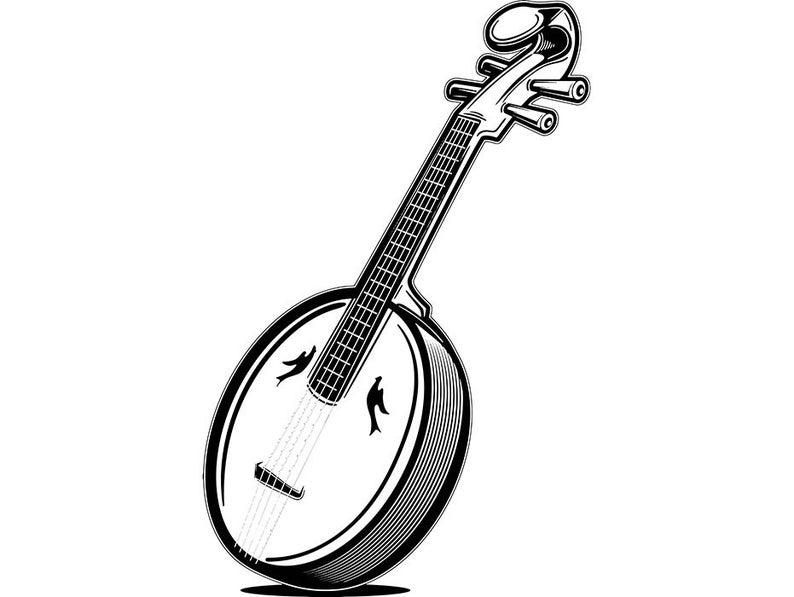 Banjo clipart classical music instrument. Old antique musical retro