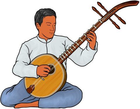 Krachappi player musical instruments. Banjo clipart classical music instrument