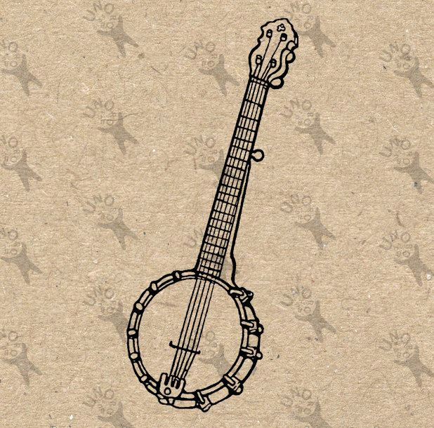 Banjo clipart country music. Vintage image instant download
