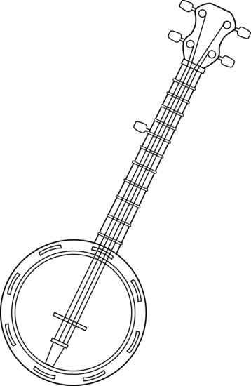 Colorable line art free. Banjo clipart country music